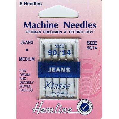 Hemline H103.90 | Med/Hvy Jeans Machine Needles | 5x 90/14 | Denim & Hvy Fabric Hemline Haberdashery