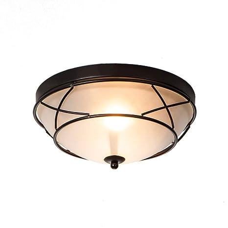 Wtape Vintage 2 Light Glass Black Finish Semi Flush Mount Ceiling Light Ceiling Fixture For Bedroom Hallway Kitchen Bar