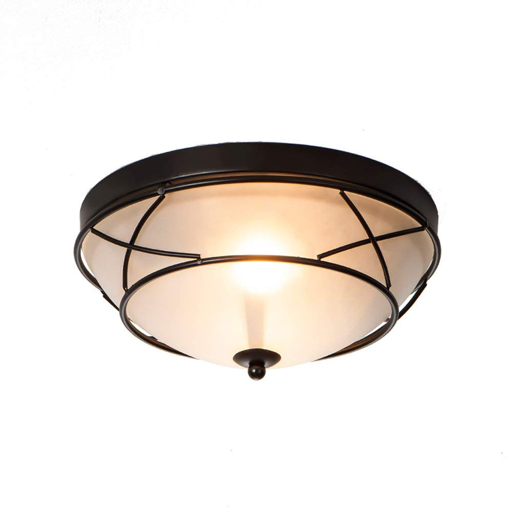 Wtape Vintage 2 Light Glass Black Finish Semi-Flush Mount Ceiling Light, Ceiling Fixture for Bedroom, Hallway, Kitchen, Bar