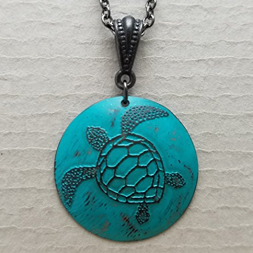 Etched Copper Sea Turtle Necklace