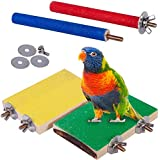 ASOCEA 4 Pcs Bird Perch Stand Toy Parrot Cage Platform Wooden Paw Grinding Stick Cage Accessories Exercise Toys for Conures Cockatiels Budgies Parakeet