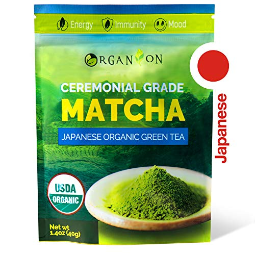Powder Gift - Organion Ceremonial Grade Japanese Matcha Green Tea Powder - Premium Quality, 100% Organic, USDA & JONA Certified, Antioxidants, Non-GMO, Vegan, Gluten and Sugar free with Recipe E-book as a Gift