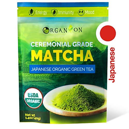 Organion Ceremonial Grade Japanese Matcha Green Tea Powder - Premium Quality, 100% Organic, USDA & JONA Certified, Antioxidants, Non-GMO, Vegan, Gluten and Sugar free [40g Starter Size]