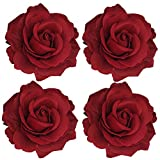 Sanrich 4pcs/pack Fabric Rose Hair Flowers Clips Hairpin Brooch Hair Accessory Wedding Party Headpieces (red)
