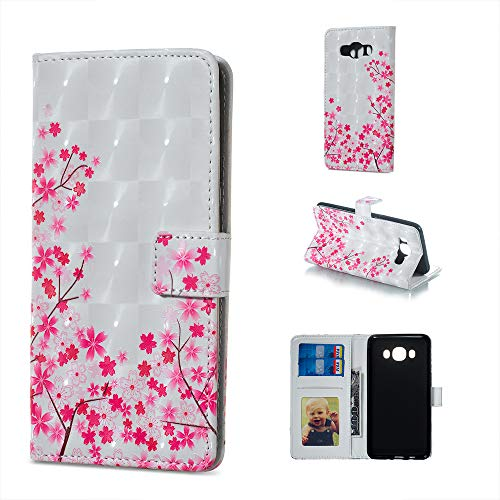 IVY Galaxy J7 PU Leather Folio Flip Cover [3D Relief Pattern ][Kickstand] for Samsung J7 2016 SM-J710 Magnetic Wallet Case - Cherry Blossoms