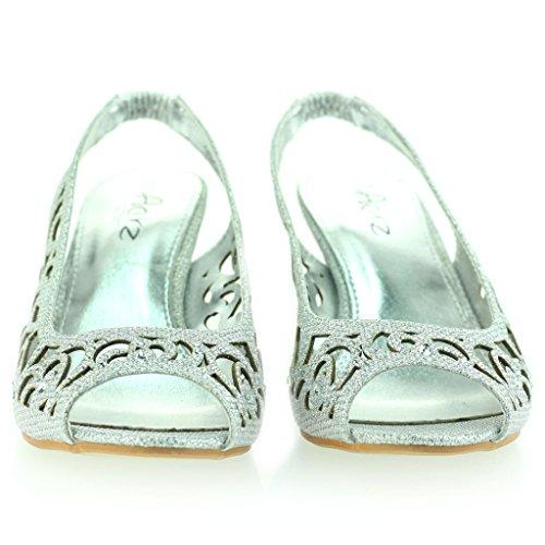 Mujer Señoras Noche Fiesta Boda Peep Toe Slingback Diamante Tacón Medio Sandalias Zapatos Talla Plateado