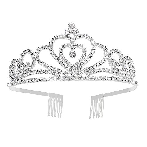 Silver Tiara Crown with Comb for Girl Royal Queen Crystal Wedding Jewelry Bridal Hair Accessories for $<!--$8.97-->