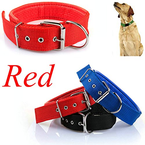 Easygoby Adjustable Soft Fabric Pet Dog Puppy Collar with Buckle and Clip for Lead Leash L Red