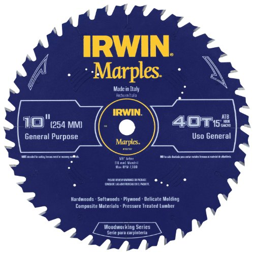 Extra Large Teeth - Irwin Tools  1807367 Marples Laser Cut 10-Inch 40-Tooth Alternate Tooth Bevel Circular Saw Blade