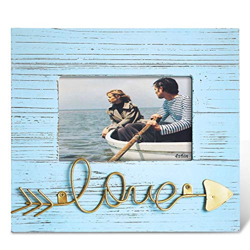 BOLUO Love Picture Frames 4x6 Beach Photo Frame Distressed Blue Wood Barndoor Teal Rustic Deocr Family Couple Gifts