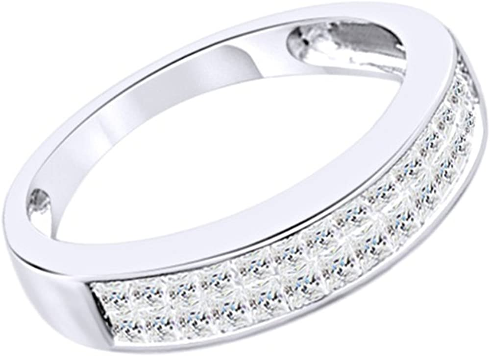 Wishrocks Princess Cut White CZ Mens Hip Hop Band Ring in 14K Gold Over Sterling Silver