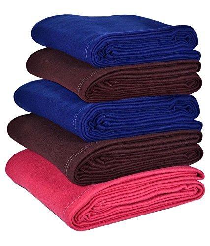 Super India 5 Piece Fleece Single Blanket Set - Multicolour