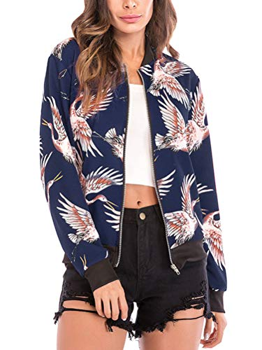 Bomber Floral Cardigan Print Womens Winter Sleeve Outwear Zipper Coat Jacket Coat Autumn Blue Long Bird Crane Sport Jacket Print Jacket ShallGood Fashion Baseball Blouse UdTawa7