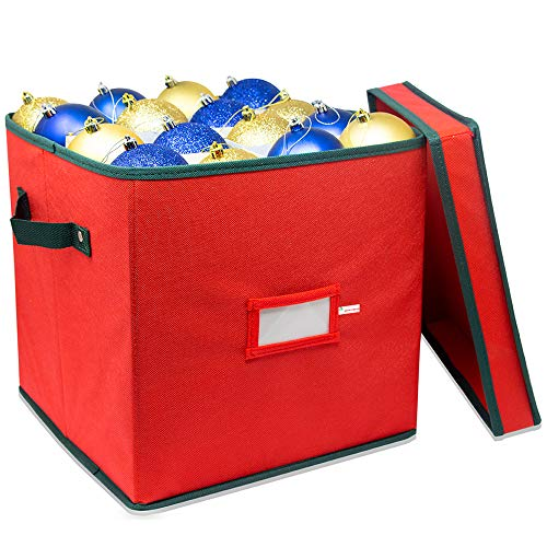 WHYSKO Christmas Ornament Storage Box with Lid - Adjustable Dividers That Holds up to 64 Round Ornaments - Rivet Reinforced Handles - Holiday Storage (Red)