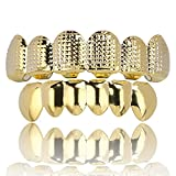 SHINY.U Fashion New Custom Fit Gold Plated Hip Hop Teeth Grillz Caps Top &Bottom Grill Set for Gift Classic Teeth Gold Grillz (Yellow)