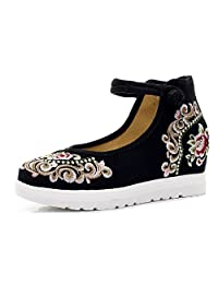 Tianrui Crown Women And Ladies Flower Embroidered Wedge Platform Mary-Jane Shoes Sandals
