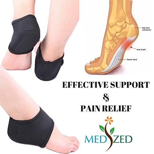 2e630d27a7 MEDIZED® Plantar Fasciitis Therapy Wrap Heel Foot Pain Arch Support Ankle  Brace Insole Orthotic … (Blue Arch Sleeve and Black Heel Wrap)