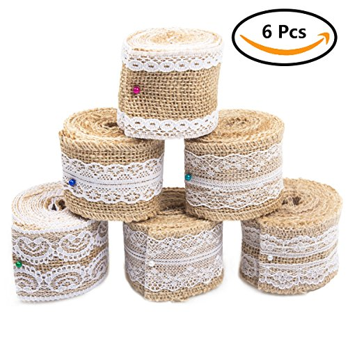 Bouquet Tie (6 Pcs Lace Burlap Ribbon Roll, ABUFF Natural Rustic Ribbon with Lace. Perfect for Gift Wrapping, Handmade Crafts, Wedding Decor, Wedding Favor, Tie Bows, Wreaths, DIY Projects( 2m x 5cm))