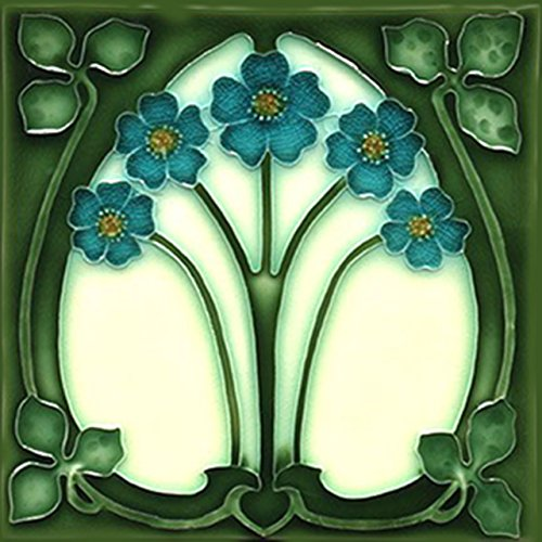 Art Nouveau Ceramic Tile 6 Inches Reproducction #0054 by Art Printing Ceramic