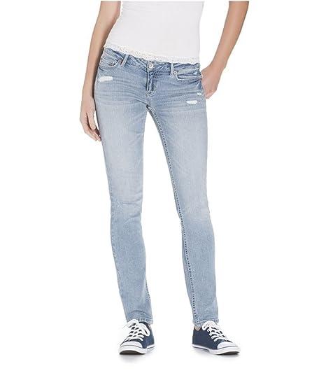 392b4f8de12 Aeropostale Womens Bayla Rhinestone Low Rise Skinny Fit Jeans Blue 3 4x30 -  Juniors