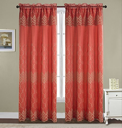 RT Designers Collection Emmett Embroidered 54 x 90 in. Double Rod Pocket Curtain Panel w/Attached 18 in. Valance, (Taffeta Embroidered Rod Pocket Curtain)