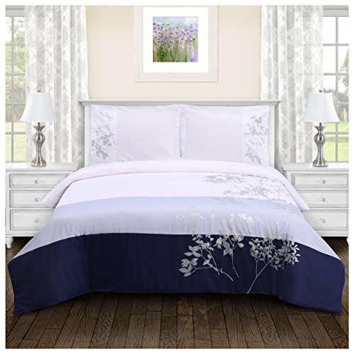 (Superior 100% Soft, Breathable Cotton Sydney Embroidered Duvet Cover 3 Piece Bedding Set; King/California King - Sky)