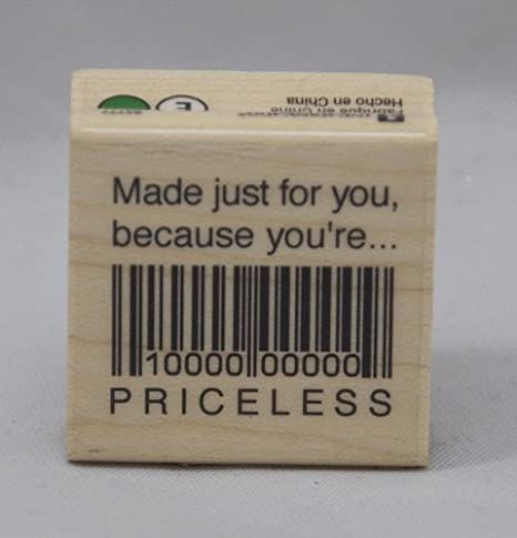 Inkadinkado Rubber Stamp with Wood Handle, Made Just For You/You're Priceless STAMPK-93777