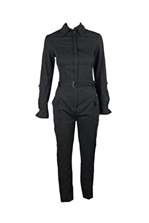 a5c8c07269 MAXSTUDIO Max Studio Womens Marion Zip-up Roll Tab Sleeve Jumpsuit