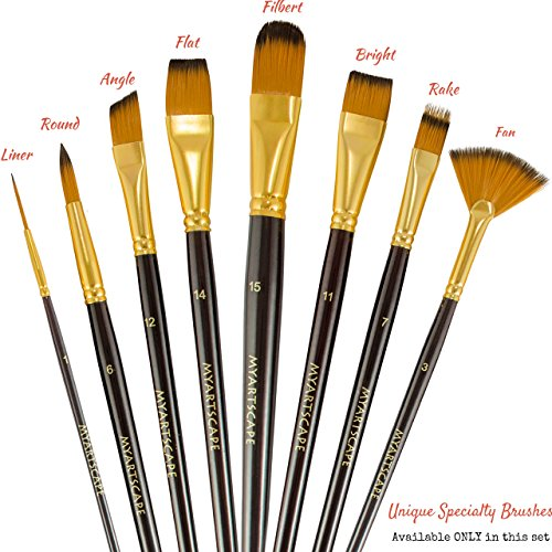 1865422 Paint Brushes 15 Pc Brush Set For Watercolor Acrylic Oil Amp Face Painting Long Handle Artist Paintbrushes With Travel Holder Black Amp Free Gift Box Premium Art Supplies By Myartscape 1 Year Warranty on Desert Arts And Crafts