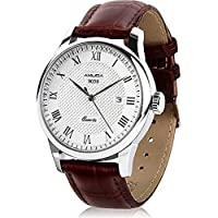 Mens Quartz Watch, Amuda Analog Leather Wrist Watch for Men,Roman Numeral Business Casual Fashion Leather Watches with Classic Calendar Date Window, 30M Waterproof Water Resistant and PU Leather Watch