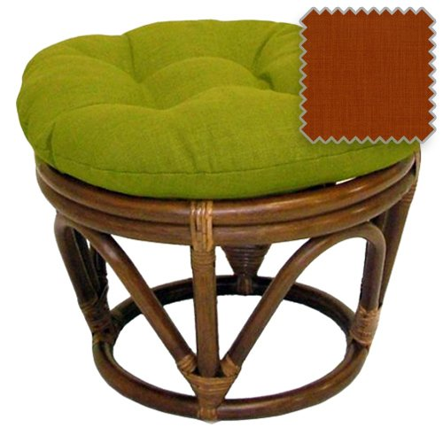 Outdoor Upholstered Materials (18-Inch Bali Rattan Papasan Footstool with Cushion - Solid Outdoor Fabric, Cinnamon - DCG Stores Exclusive)