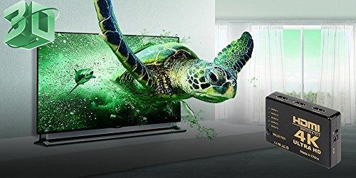ILOVA 4K HDMI Switch 5 Port Video Switcher Supports 3D Full 1080P Ultra HD HDMI Splitter with IR Remote