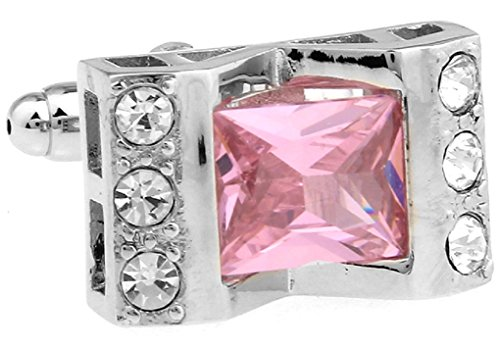 MRCUFF Pink Crystal with Clear Accents Cufflinks in Presentation Gift Box & Polishing Cloth (Clear Crystal Cufflinks)