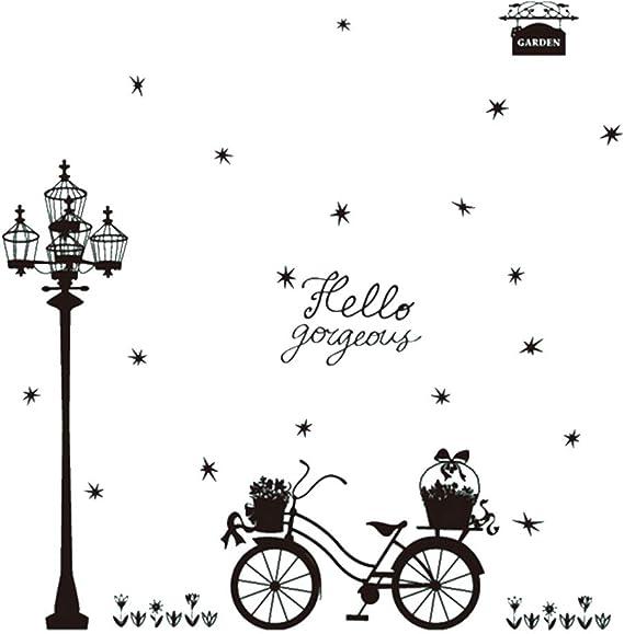 Farola y la Bicicleta Pegatinas de Pared Creativo Simple diseñado ...