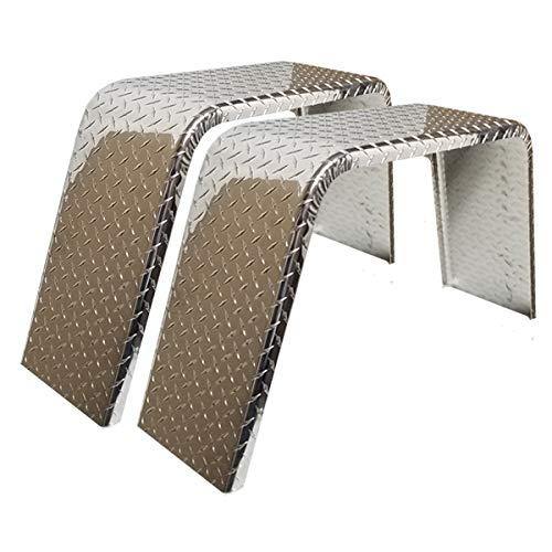 2-Pack ToughGrade Aluminum Diamond Plate Flat Top Trailer Fender 10