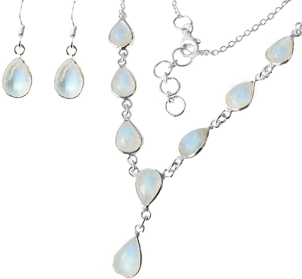 925 Sterling Silver Tear Drop Moonstone Necklace and Fishhook Earring GIFT SET The Healing Gemstone