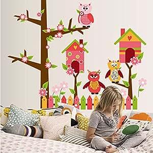 ufengke® Búhos Lindos Dibujos Animados Flores Hermosa Jaula Pegatinas de Pared, Vivero Habitación de Los Niños Removible Etiquetas de La Pared / Murales