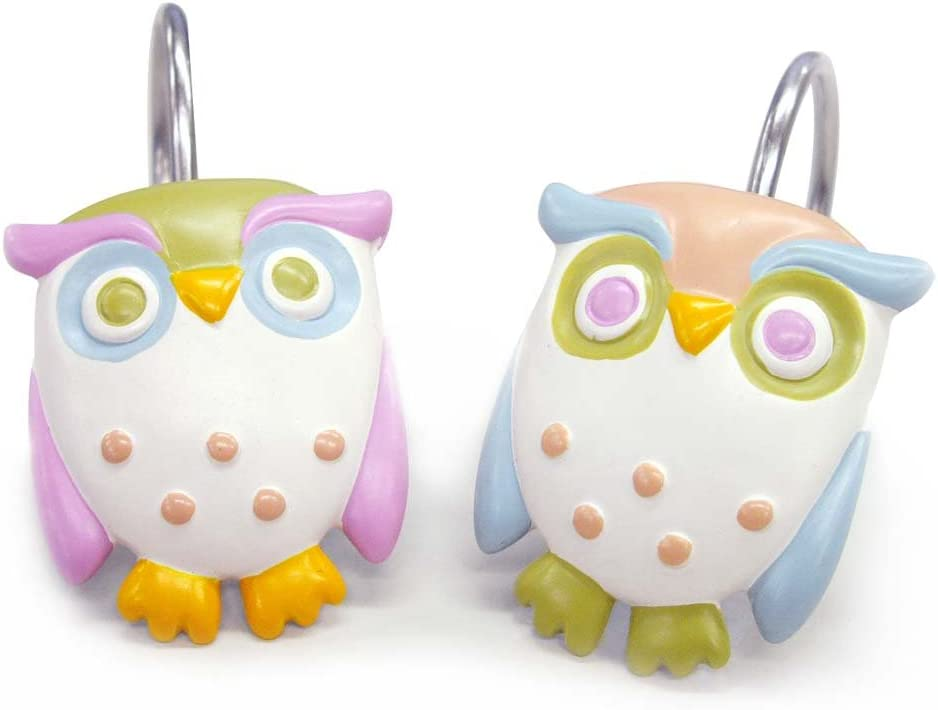 Allure Home Creations Awesome Owls Resin Shower Curtain Hooks
