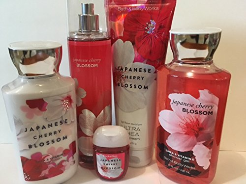 Bath & Body Works JAPANESE CHERRY BLOSSOM Deluxe Gift Set Lotion ~ Cream ~Fragrance Mist ~ Shower Gel + Small Sanitizing Hand Gel Lot of 5 - Japanese Cherry Blossom Gift