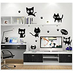 High-Season Cartoon Black Cat Cute DIY Vinyl Wall Stickers For Kids Rooms Home Decor Art Decals 3D Wallpaper Decoration Adesivo De Parede