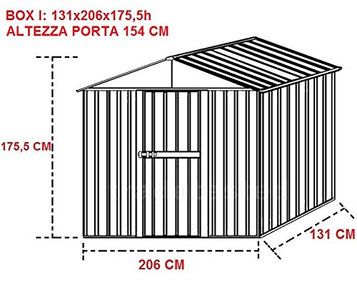 BOX CASA PARTE COBERTIZO EL GUARDARROPA, EL GARAJE COCHE PARA COCHE PARA JARDÍN ACERO, ZINCADA-MISURA CM, 131 X 205 X 175,5 H: Amazon.es: Hogar