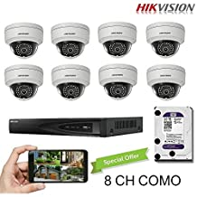 Hikvision 8CH Combo: 8 x 4MP High Defination IP Dome Cameras(DS-2CD2142FWD-I) Security System, 8 Channel NVR (DS-7608NI-E2/8P) With 3TB WD Purple HDD Installed, Built-in PoE Plug and Play, Hikvision Camera and NVR US English Version [Ships from Canada]