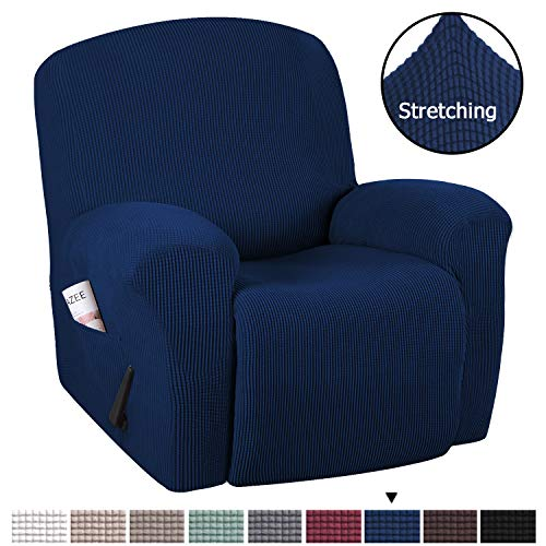 1 Microfiber Recliner - Recliner Chair Cover Rich Jacquard Stretch Sofa Cover 1-Piece Recliner Covers for Large Recliner, Sofa Covers, Furniture Protector with Elastic Bottom, Anti-Slip Foams Attached (Recliner, Navy)