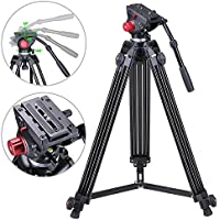 AW 72 Professional Camera Tripod Portable DV Video Steady Stand Fluid Damping Head Kit with Carry Bag 33lbs Capacity