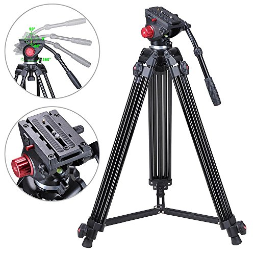 AW 72″ Professional Camera Tripod Portable DV Video Steady Stand Fluid Damping Head Kit with Carry Bag 33lbs Capacity