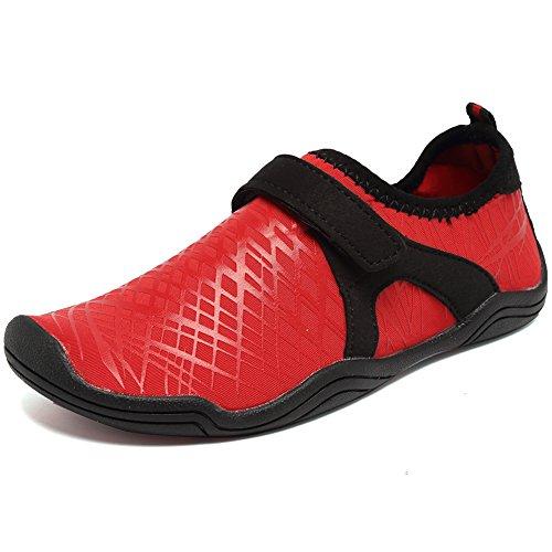 Fantiny Boys & Girls Water Shoes Lightweight Comfort Sole Easy Walking Athletic Slip on Aqua Sock(Toddler/Little Kid/Big Kid) DKSX-Red-31