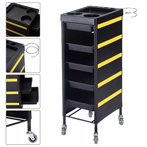 Salon Trolley Beauty Salon Station Storage 34″ Hairdressing Rolling Tray with 5 Drawers, Black