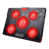 HIRALIY 5 Fans Laptop Cooling Pad 12-17 Inch Cooler Pad Chill Mat with LED Light Dual USB Ports Adjustable Mount Stand (Red)