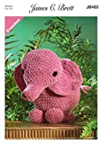 James Brett Flutterby Chunky Crochet Pattern Ellie the Elephant Fun Animal Toy (JB403)