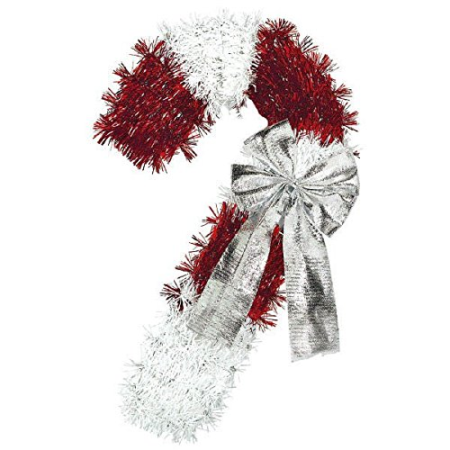 Deluxe Tinsel Christmas Candy Cane Hanging Decoration, Foil, 15